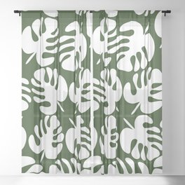 Monstera Leaves Pattern in White and Deep Forest Green Sheer Curtain