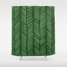 Forest Green Herringbone Shower Curtain