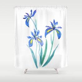 blue iris watercolor Shower Curtain