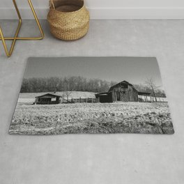 Days Gone By - Old Arkansas Barn in Black and White Rug