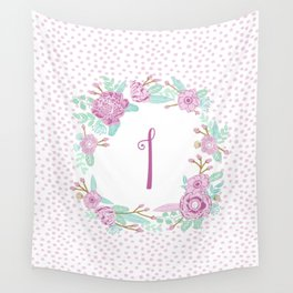 Monogram I - cute girls purple florals flower wreath, lilac florals, baby girl, baby blanket Wall Tapestry