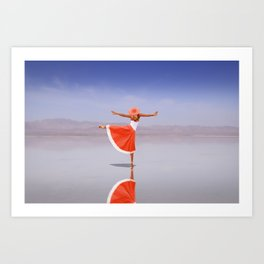 Ballerina Dancing On The Beach Art Print