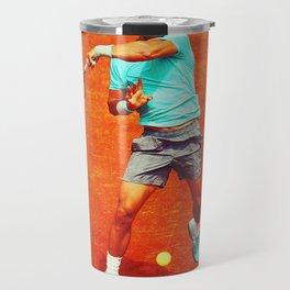 Rafael Nadal Tennis On Clay Travel Mug