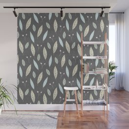 Pastel gray blush blue pink yellow chevron floral leaves Wall Mural