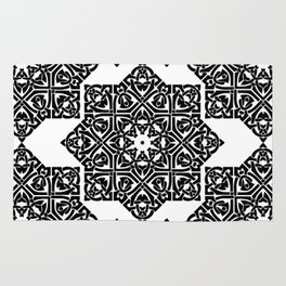 Celtic Knot Ornament Pattern Black and White Rug