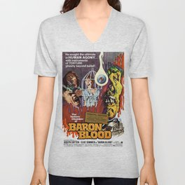 Baron Blood, vintage horror movie poster Unisex V-Neck
