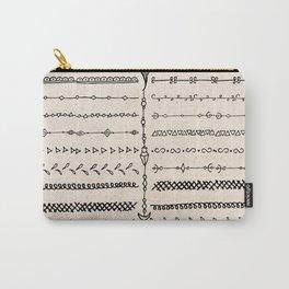 Vintage white modern black bohemian aztec pattern Carry-All Pouch