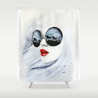 horses Shower Curtains featuring Wild Horses by anna hammer