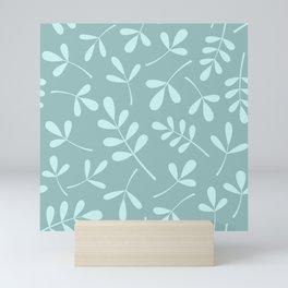 Assorted Leaf Silhouettes Teals Mini Art Print