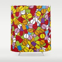 pills Shower Curtains featuring Lots of Pills by Thisisnotme