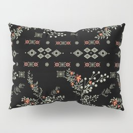 Seamless abstract floral pattern on black background Pillow Sham