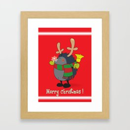 Rudolph the Red Nosed Hedgehog wishes You a Merry Christmas! Framed Art Print