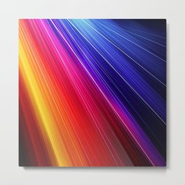 multicolor light beam line rainbow red blue orange gold purple pink Metal Print