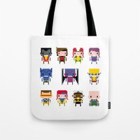 x men Tote Bags featuring Pixel X-Men by PixelPower
