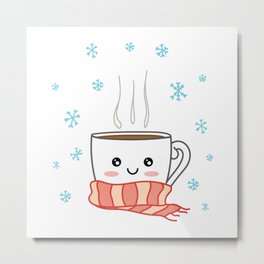 Cute smiling winter coffee with scarf and snowflakes Metal Print