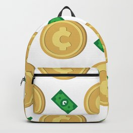 Cent ¢ banknote and coin pattern wallpaper Backpack