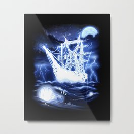 """High-Voltage Ghost Ship"" Metal Print"