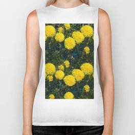 LOVE FIRST SPRING YELLOW DANDELIONS Biker Tank