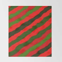 Merry Red Green Holiday Stripes Throw Blanket