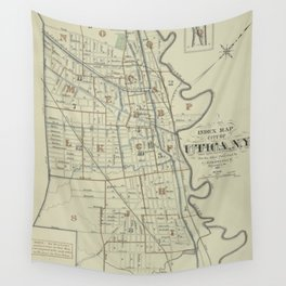Vintage Map of Utica New York (1883) Wall Tapestry