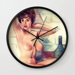 Vintage Nude Pinup Woman Wall Clock