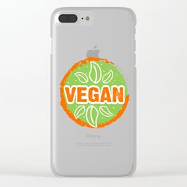 Go Vegan, green and orange, circle Clear iPhone Case