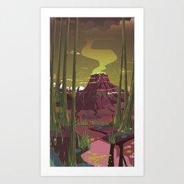 Erupting Volcano in the Swamp Cartoon Art Print