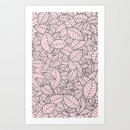 Hand drawn leaves pattern b&w Art Print