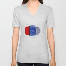 Blue and Red (with elipse and square) Unisex V-Neck
