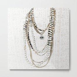 vintage white gold necklace Metal Print