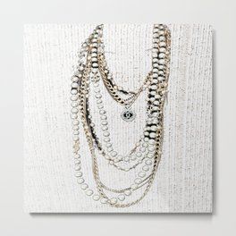 vintage white gold necklace Metal Print