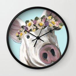 Flower Crown Pig, Farm Animal Art Wall Clock
