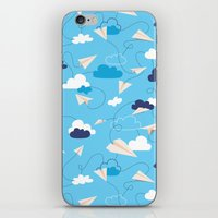 airplanes iPhone & iPod Skins featuring Paper Airplanes by Polita