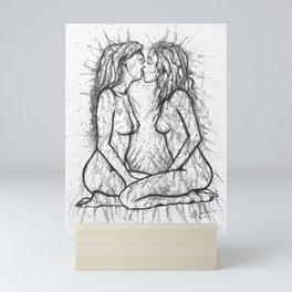 Sexual Energy b&w - Erotic Art Illustration Nude Sex Sexual Love Lovers Relationship Couple Lesbian Mini Art Print