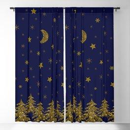 Sparkly Christmas tree, moon, stars Blackout Curtain