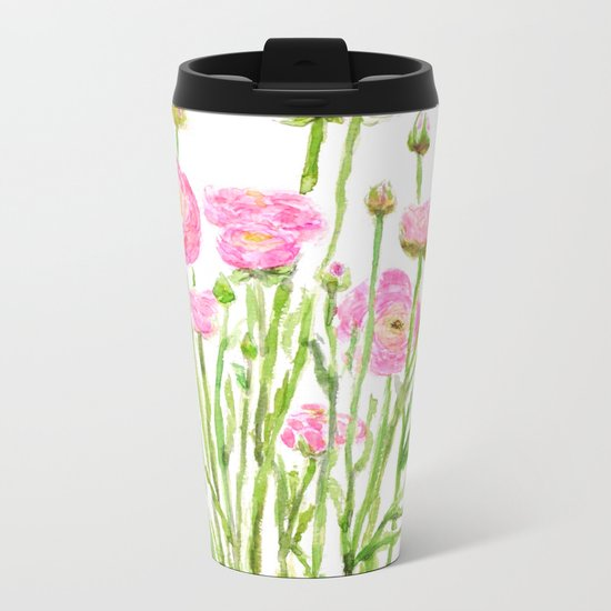 pink  ranunculus Metal Travel Mug