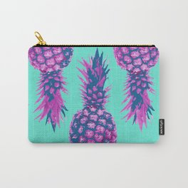 Modern colorful Pineapple pink blue turquoise background Carry-All Pouch