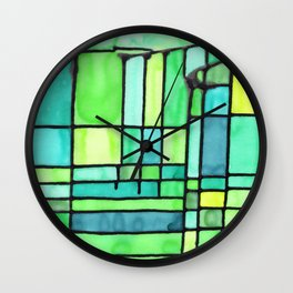 Green Frank Lloyd Wrightish Stained Glass Wall Clock