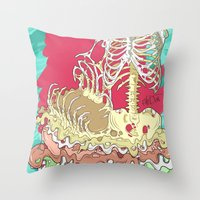 in the flesh Throw Pillows featuring Flesh illustration by ArDem