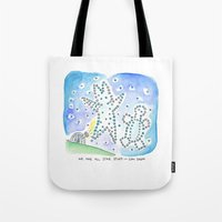 carl sagan Tote Bags featuring Bunny Daze - We are all Start Stuff ~ Carl Sagan by Cindy Rodella Purdy
