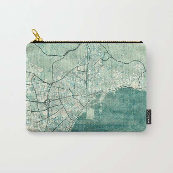 Malaga Map Blue Vintage Carry-All Pouch