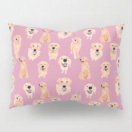 Golden Retrievers on Pink Pillow Sham