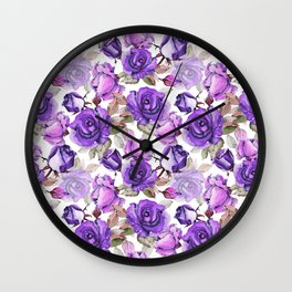 Violet lilac pink watercolor botanical roses floral Wall Clock
