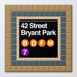 subway bryant park sign Canvas Print