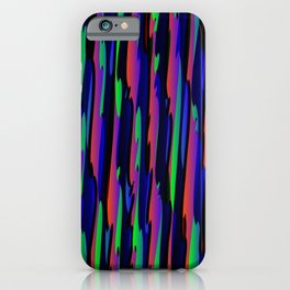 Vertical vivid curved stripes with imitation of the bark of a blue tree trunk. iPhone Case
