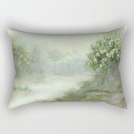 Misty Woodland Stream Rectangular Pillow