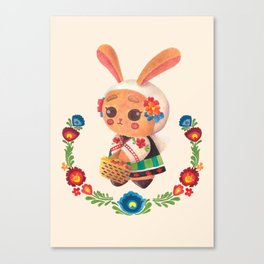 The Cute Bunny in Polish Costume Canvas Print