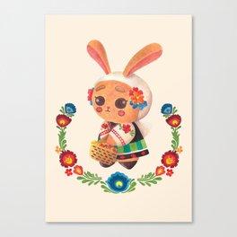 The Cute Bunny in Polish Costume Canvas Print