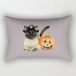 Halloween Siamese Cat with Jack O' Lantern Rectangular Pillow