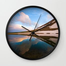 Mountain lake landscaoe at sunset Wall Clock